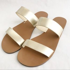 J. Crew Boardwalk Slide Sandals Metallic Gold